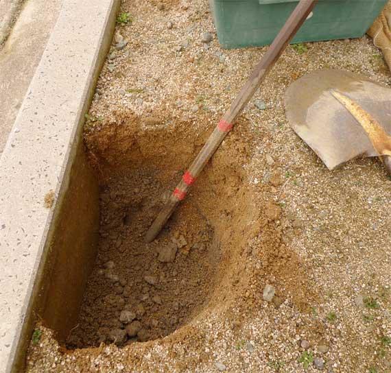 鉄の突きん棒で崩しては掘り出し。明日は筋肉痛か?